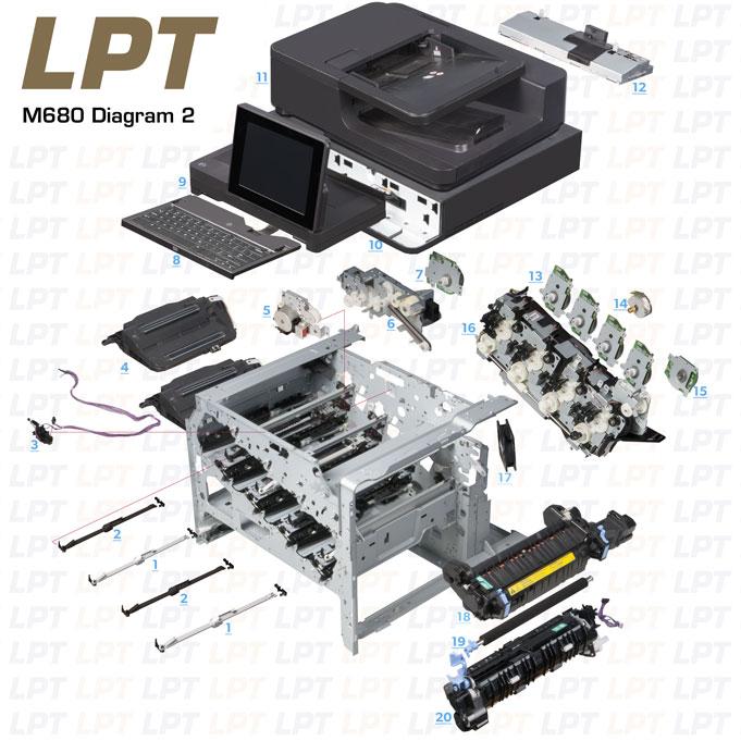 Parts Diagram 2 For Laserjet M680 Printers Click To Order